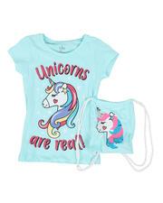 Girls - Believe In Magic Glitter Tee W/ Flip Sequin Drawstring Backpack (7-16)-2469074