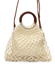 Fashion Lab - Fish Net Bag W/ Wooden Ring Handles-2469763