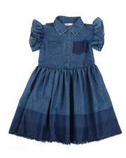 Girls - Ruffle Sleeve Chambray Dress (7-16)-2471598