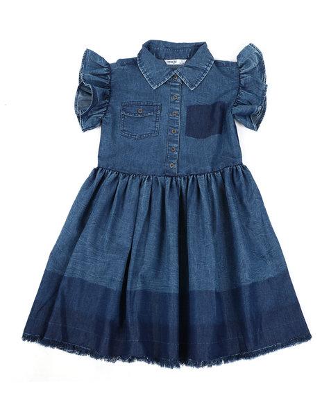Kensie Girl - Ruffle Sleeve Chambray Dress (7-16)