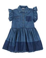 Girls - Ruffle Sleeve Chambray Dress (4-6X)-2471610