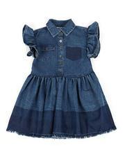 Girls - Ruffle Sleeve Chambray Dress (2T-4T)-2471653