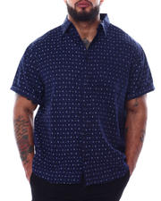 Big & Tall - Novelty Pattern Short Sleeve Button Down Shirt (B&T)-2474109