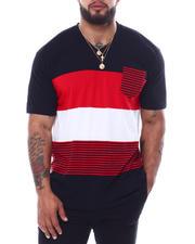 Big & Tall - Short Sleeve Stripe V-Neck T-Shirt (B&T)-2474037
