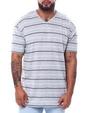 Big & Tall - Stripe 2 Tone V-Neck T-Shirt (B&T)-2474041