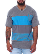 Big & Tall - Short Sleeve Stripe V-Neck T-Shirt (B&T)-2474025