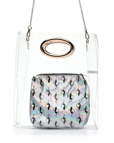 Baby Phat - Baby Phat Clear Tote W/ Silver Pouch