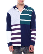 Spring-Summer-M - Colorblock Stripe LS Knit Hooded Shirt-2474968