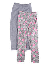 Bottoms - 2 PC SOLID & HEART PRINTED LEGGING SET(4-6X)-2475563