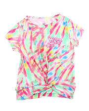 Girls - Twisted Front Tie Dye Yummy Tee W/Foil Art (2T-4T)-2475848
