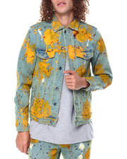 Outerwear - BERING DENIM JACKET YELLOW PAINT SPLATTER-2475920