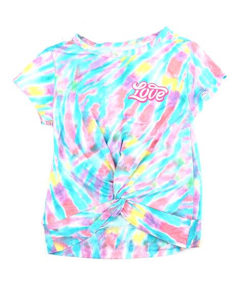 La Galleria - Twisted Front Tie Dye Yummy Tee W/Foil Art (4-6X)