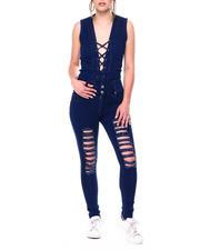 Jumpsuits - Destructed Lace up Front Denim Jumpsuit-2472555