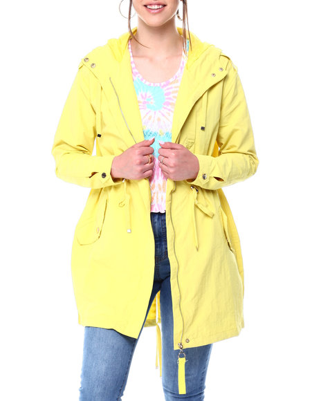 Fashion Lab - HOODED WINDBREAKER DRAWSTRING WAIST PARKA W/ FLAP POCKETS
