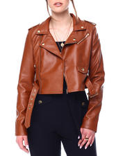 Womens-Holiday - Faux Leather Belted Moto Jacket-2472854