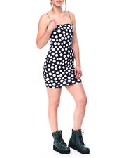 Womens-Holiday - Spaghetti strap mini polka dot dress-2476946