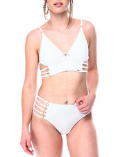 XOXO - Pearl Trim Strappy Side Long Line Bralette Strappy Side HI Waist Brief-2472469
