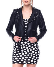 Womens-Holiday - Faux Leather Belted Moto Jacket-2472865