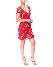 Womens-Holiday - Short Puff Sleeve Shirred Bodice Dress-2476851