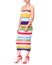 Womens-Holiday - Color Block Strapless Sweater Knit Dress-2476957