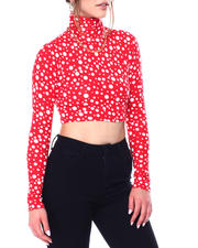 Women - Long sleeve high neck  polka dot crop top-2476907