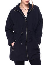 Women - HOODED WINDBREAKER DRAWSTRING WAIST PARKA W/ZIPPER POCKETS-2476933
