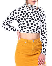 Women - Long sleeve high neck  polka dot crop top-2476942