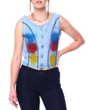 Women - Brushed Paint Raw Edge Denim Vest-2476974