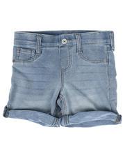 Bottoms - Glitter Button Pull-On Roll Cuff Knit Denim Shorts (7-14)-2475557