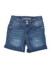Sizes 7-20 - Big Kids - 2 Glitter Button Roll Cuff Denim Bermuda Shorts (7-14)-2475526