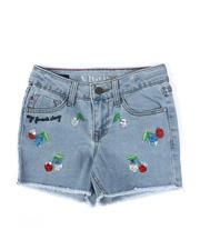 Bottoms - Cherry Frayed Hem Denim Shorts (7-14)-2475593