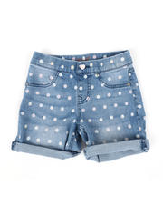 Vigoss Jeans - Pull-On Polka Dot Roll Cuff Mid Denim Shorts (7-14)-2475625