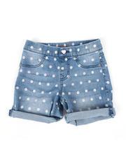Bottoms - Pull-On Polka Dot Roll Cuff Mid Denim Shorts (7-14)-2475625