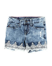Sizes 7-20 - Big Kids - Crochet Hem Denim Shorts (7-14)-2475658