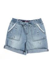 Bottoms - Floral Tie Waist Roll Cuff Denim Shorts (7-14)-2475681
