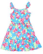 Dresses - Floral Print Flutter Sleeve Dress (7-16)-2477847