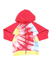 Hoodies - Tralene Tie Dye Zip Front French Terry Hoodie (7-16)-2477771