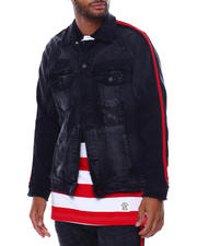 Outerwear - Distressed Side Stripe Denim Jacket-Black Shadow-2478964