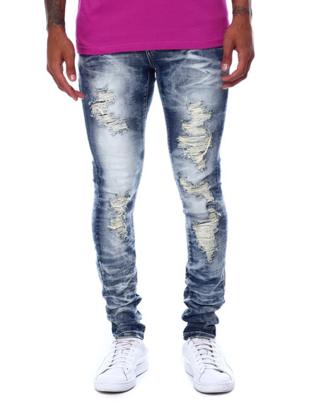 Industrial Indigo - Faded Distressed Stretch Jean