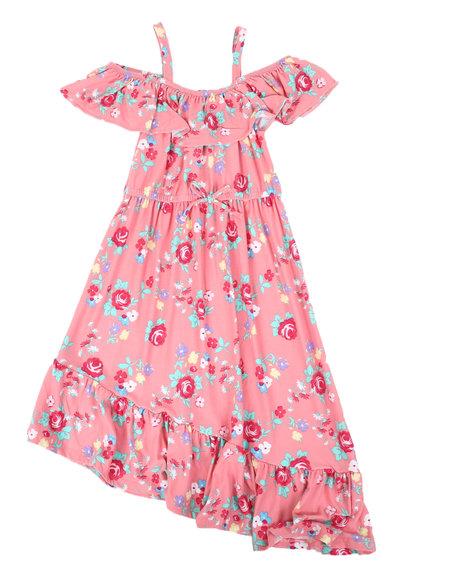 La Galleria - Floral Off Shoulder Dress W/ Ruffle Neck (7-16)