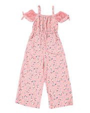 Girls - Off Shoulder Printed Jumpsuit W/ Lace Tie Detail (7-16)-2477712