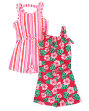 Rompers - Floral & Stripe 2 Pc Romper Set (4-6X)-2477784