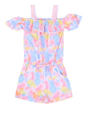 Girls - Tie Dye Off Shoulder Romper W/ Ruffle Flounce (4-6X)-2477863