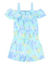 Girls - Tie Dye Off Shoulder Romper W/ Ruffle Flounce (4-6X)-2477867