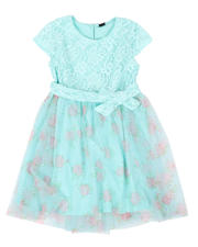 La Galleria - Lace Bodice Dress W/ Floral Print Tulle Skirt (7-16)-2477930