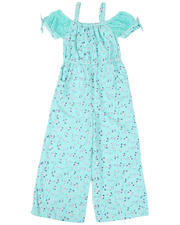 Girls - Off Shoulder Printed Jumpsuit W/ Lace Tie Detail (7-16)-2477708