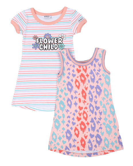 Kensie Girl - Jada Flower Child & Leopard 2 Pc Dress Set (4-6X)