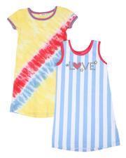 Sizes 7-20 - Big Kids - Jada Tie Dye & Love Stripe 2 Pc Dress Set (7-16)-2477793