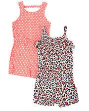 Rompers - Animal Print & Polka Dot 2 Pc Romper Set (7-16)-2477797