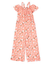 La Galleria - Floral Off Shoulder Jumpsuit W/ Ruffle Sleeves (7-16)-2477814